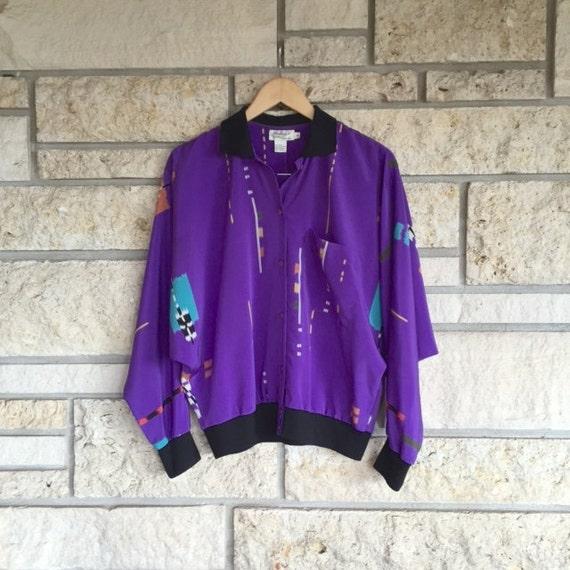 Vintage Retro Print Jacket Blouse / Size Medium