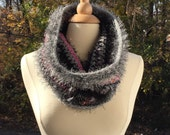 Crochet Cowl Scarf Shades of Black Gray and Pink in Mohair Silk Wool and Eyelash Yarn Luxurious Novelty Yarns