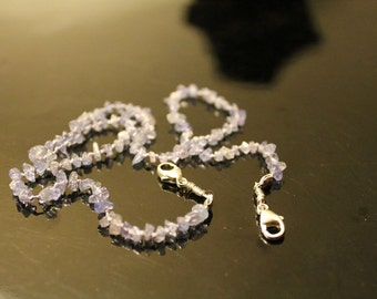 Natural amethyst double clasp beaded back - 17.5""