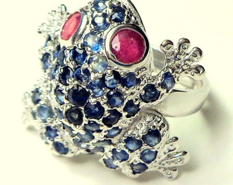 Adjustable, Sterling Silver, Blue Sapphire, Pave Setting, Frog Ring, Red/Pink Ruby Eyes, Little Critter on Your Finger