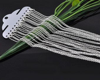 12pcs 18 inch Silver Necklace Chains - Silver Plated Chain Necklace - 3mm x 2mm Lobster Clasp Jewelry Findings - Silver Jewelry Findings A01