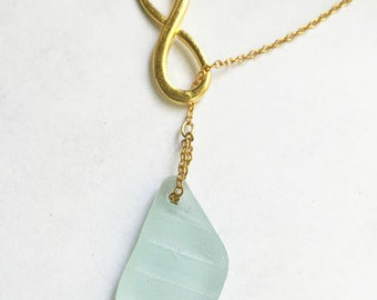 Infinity & Textured Sea Glass Larait Style Necklace