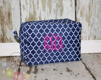 Personalized Monogrammed Navy Quatrefoil Cosmetic Bag, Makeup Case - Bridesmaid, Wedding, Graduation, Birthday Gift