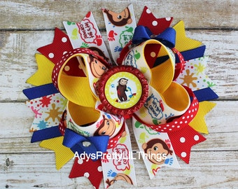 Curious George Inspired Bow Paint Bow Monkey Bow Bottle Cap Bows Girls Boutique Bows Hair Clip OTT Bows Baby Girls Hair Accessories