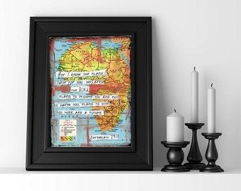 Jeremiah 29 wall art scripture art bible verse print africa map art print