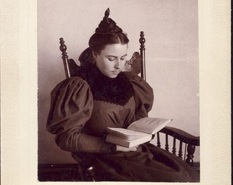 Woman in Fancy Victorian Dress and Stylish BRAIDED Hair READING a BOOK Photo Circa 1900