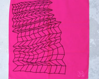 Pink bandana. pink scarf. geometric scarf. roller derby bandana. street wear. screen printed scarf. rope design. fishnet. inexpensive gift.