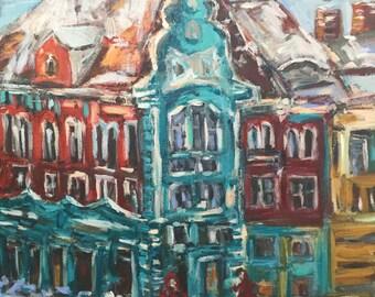 "European Winter Scene  20""x16""  acrylics on canvas original painting"