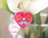 Love birds with initial pictures Locket necklace