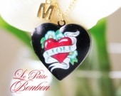 Valentine's love with initial pictures Locket necklace