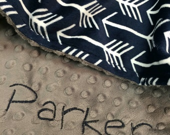 Navy Arrow and Gray Minky Dot Personalized Blanket Lovey Size