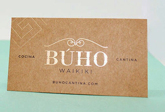 200 Business Cards or tags - 13 PT brown kraft paper with metallic foil - environmentally friendly - full color custom printed