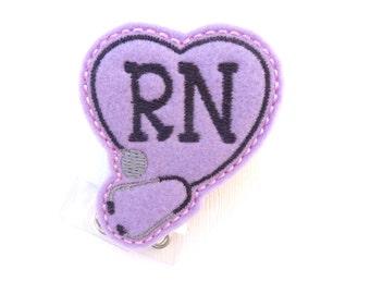 Nurse Badge Holder Retractable - RN Heart Stethoscope - light purple lilac felt - nurse badge reel