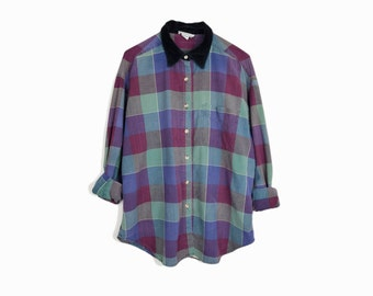 Vintage Purple Plaid Velvet Collar Shirt / 90s Grunge Plaid Shirt - women's large