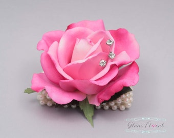 Hot Pink Rose Wrist Corsage- Wedding Flower- Prom Corsage- Real Touch Rose Corsage- Wrist Corsage. Caroline Rose Collection