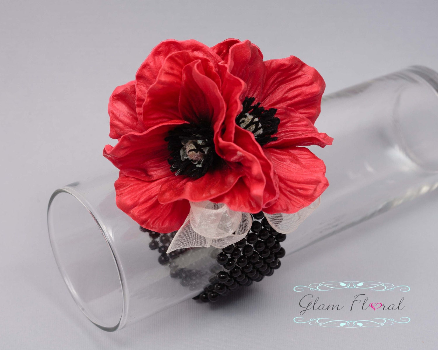 Red Poppy Wrist Corsage Real Touch Flowers