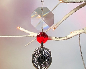 Prism Sun Catcher, Christmas Ornament, Ruby Red Crystal, Peacock Feather, 1S-26