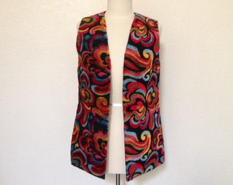 Vintage 70s Colorful Tapestry Vest Bright Paisley Floral Swirls