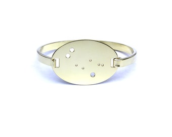 Gemini High Polished Raw Brass Zodiac Constellation Oval Bracelet