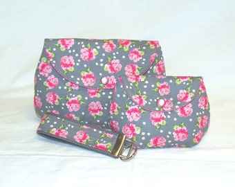 Classic Make-Up Bag/Coin Purse/Key Fob Gift Set in Pink Floral Pattern on Grey Background