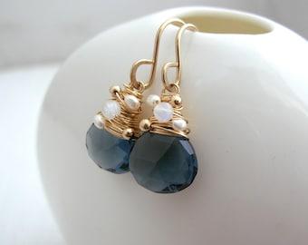 Navy Quartz, Moonstone and Pearl Earrings