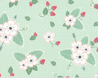 Moda Bumble Berries Quilt Fabric Strawberry Fabric Green Floral Fabric Quilting Fabric By The 1/2 Yard