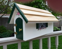 Wooden mailbox, hand made wooden mailbox, house shaped mailbox with real roof shingles, mailbox with flowers