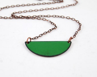 Hunter Green Half Moon Circle Enamel Pendant Necklace