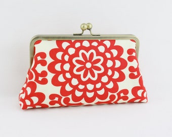 Bridesmaid Clutch - Lotus Wall Flower (Cherry) - 8 inches Large Silver Frame Clutch - the Christine Clutch