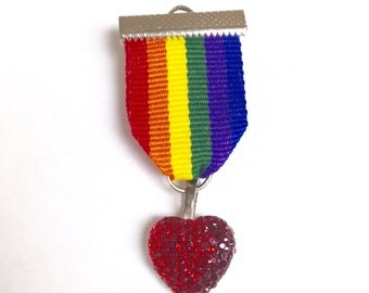 ALL PROCEEDS to charity Rainbow Pride Badge Pin Brooch