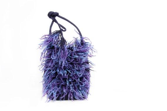 Felted blue purple messenger felt handbag wool bag grass evening fringes dreads scarf Regina Doseth handmade Lithuania EU