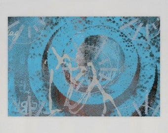 Test Print Series #014 - Recycled Art on Wood Panel
