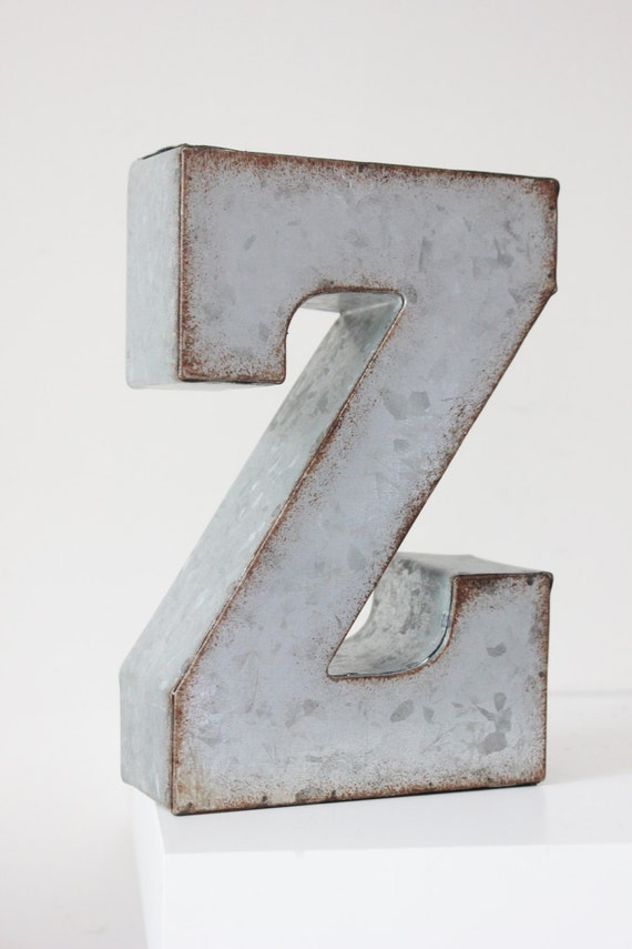 Sale large metal letter zinc steel initial home room decor for Raised metal letters