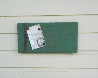 Hunter Green Burlap Bulletin Pin Board with Jute Twine, Message Board in Natural burlap, Photo Memory Board, Natural masculine decor