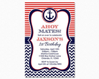 Nautical Birthday Party Invitation, Boy Nautical Party, Red, White, Blue, Chevron, Anchor, 1st Birthday, Any Age, Printable