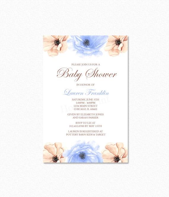 Blue Peony Flower Baby Shower Invitation, Peony Watercolor Flower Baby Shower Invitation, Blue, Cream, Personalized, Printable