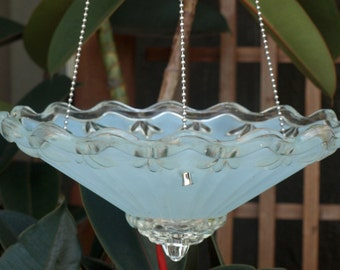 repurpose light fixture hanging planter bird feeder candle holder vintage blue art deco shade
