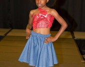Little Girls Denim Skirt and African  wrap top