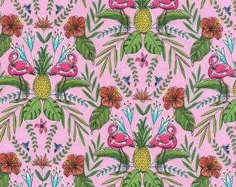 Michael Miller Midday At The Oasis Flamingo Flock To The Oasis Fabric - 1 yard 26 inches - last piece