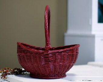 Red Woven Basket Vintage
