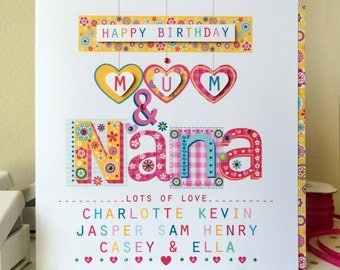Mum & Nana birthday card.