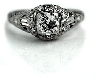 Art Deco Engagement Ring 1930's .67ctw Engagement Ring Antique Diamond Ring Old European Cut Diamond Engagement Ring in Platinum