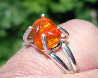 mexican fire opal raw opal ring