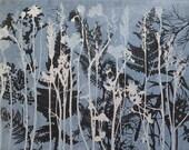 Original hand printed botanical monoprint by Stef Mitchell Cornflower blue Seed heads ferns grasses Gardeners gift wall decor