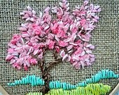 Hoop Art Hand Embroidered Textiles Tapestry Embroidered Miniature Fiber art Modern art home decor Landscape  Four seasons Tree spring