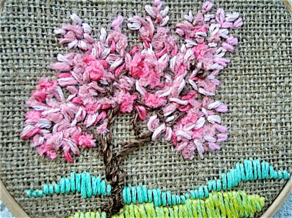Hoop Art Hand Embroidered Textiles Tapestry Embroidered Miniature Fiber art Modern art home decor Landscape  Four seasons Tree spring