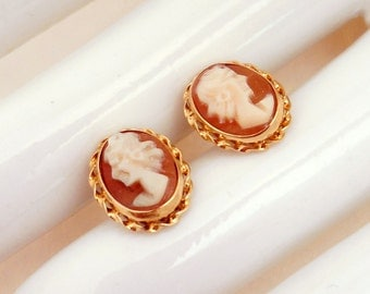 Vintage Cameo Posts  14Kt. Yellow Gold Studs