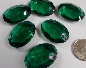 Rare (6) Vintage 25x18mm Oval Emerald Green Double Faceted Glass Jewels