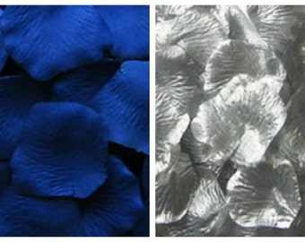 Silk Rose Petals 300 Royal Blue 200 Silver Wedding Decorations Flower Girl Basket