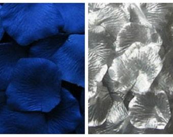 Silk Rose Petals 300 Royal Blue 200 Silver Wedding Decorations Flower Girl Basket